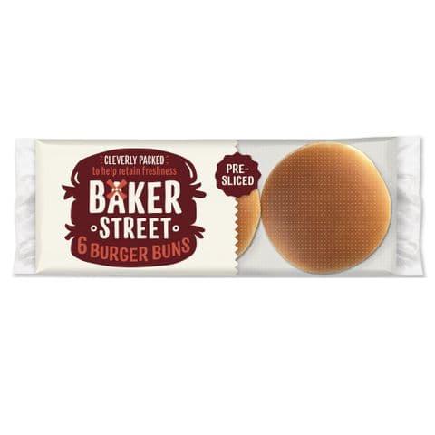 Baker Street 6 Plain Burger Buns 300g