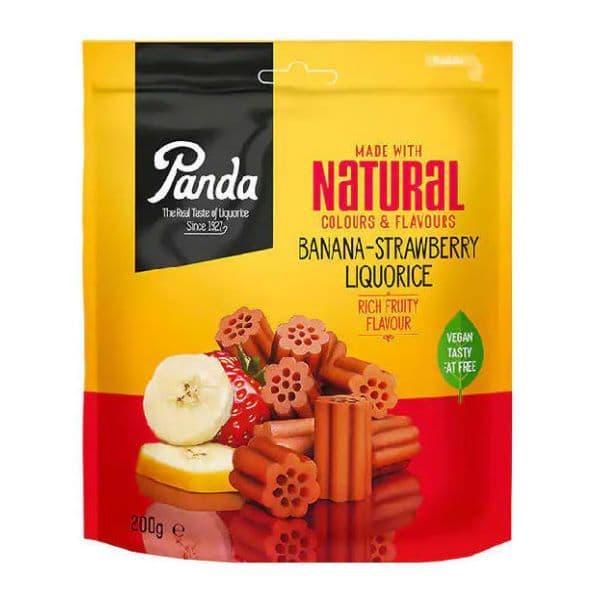 Banana Strawberry Liquorice - Vegan Natural Sweets Panda 200g