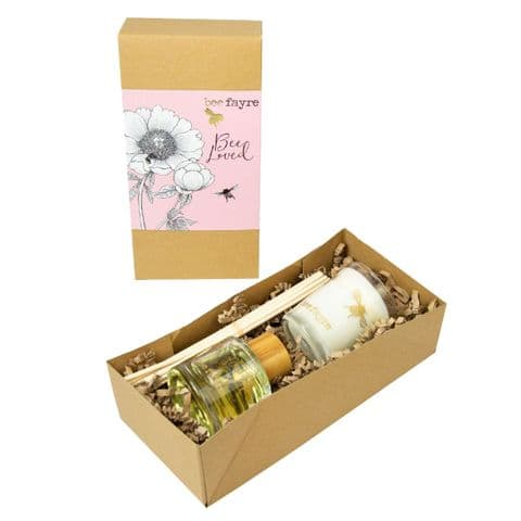 Bee Loved Peony Rose Scented Votive Candle Reed Diffuser Home Fragrance Gift Set Beefayre