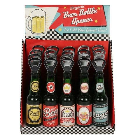 Beer Magnetic Bottle Opener Assorted Designs (1 Supplied)