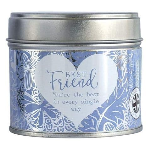 Best Friend Linen Scented Candle Tin Said With Sentiment Arora Design