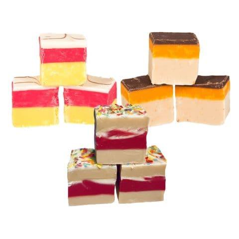 Birthday Cake, Cherry Bakewell, Jaffa Cake Mixed Flavours Luxury Hand Made Fudge Factory 600g