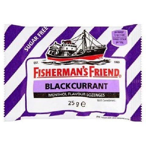 Blackcurrant Menthol Flavour Lozenges Sugar Free Fisherman's Friend 25g