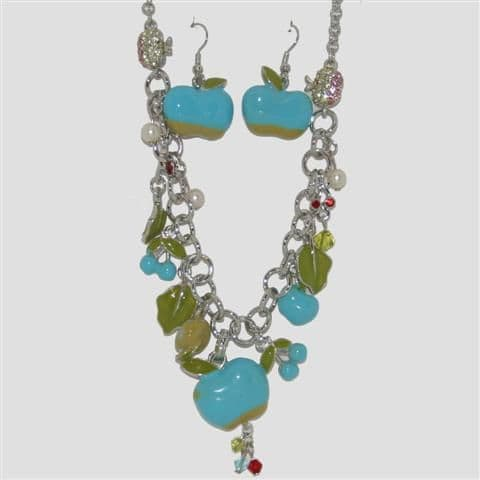 Blue Apple Fruit Necklace & Matching Earrings Set - Enamel Sparkly Crystal Costume Jewellery