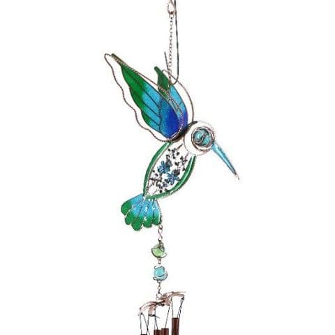 Blue & Green Hummingbird Windchime - 74cm Hanging  Garden Sun Catcher Wind Chimes