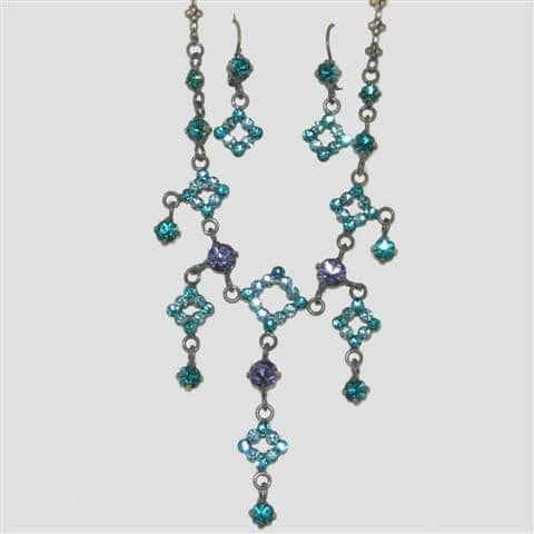 Blue Square Shaped Necklace & Matching Earrings Set - Sparkly Crystal Costume Jewellery