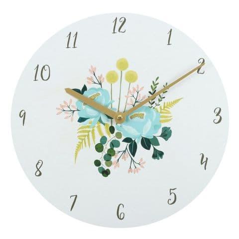 Botanical Floral 18028 - Large Modern Retro Kitchen Wall Clock 34cm