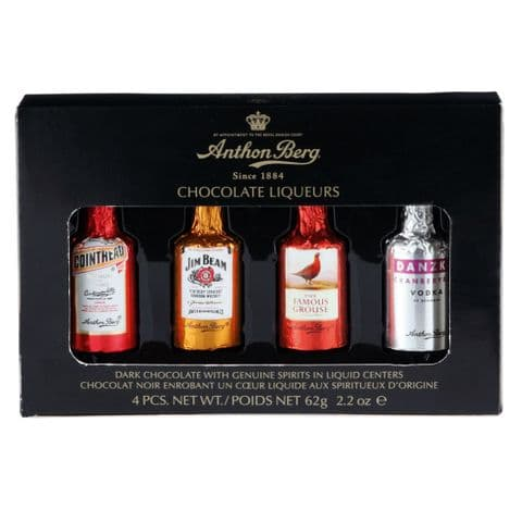 Box of 4 Assorted Liqueur Bottles Filled Chocolates - Anthon Berg 62g