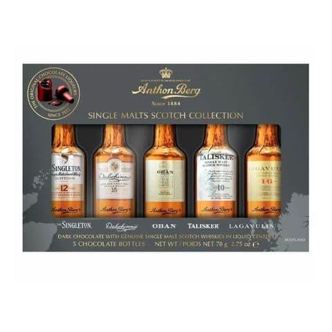 Box of 5 Single Malts Scotch Collection Whisky Filled Dark Chocolates Anthon Berg 78g