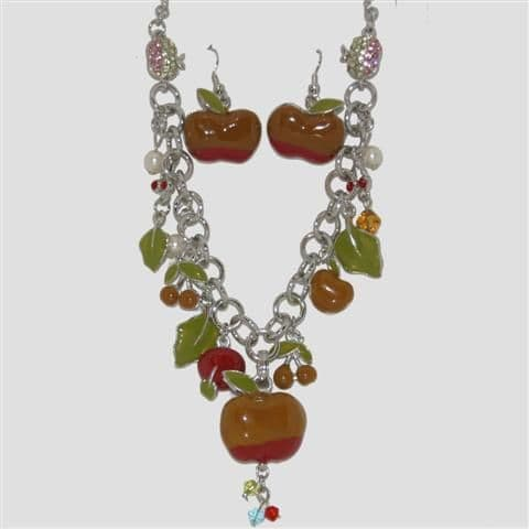 Brown Apple Fruit Necklace & Matching Earrings Set - Enamel Sparkly Crystal Costume Jewellery