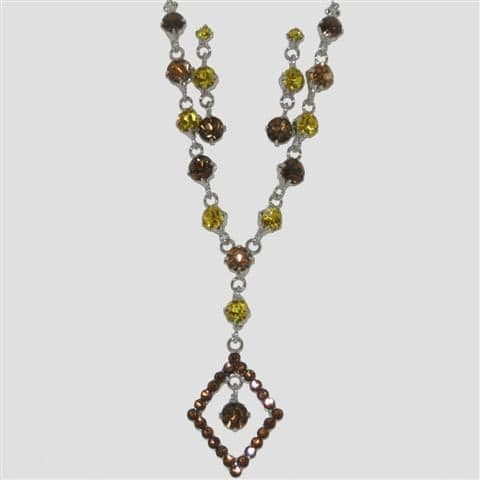 Brown Diamond Shaped Necklace & Matching Earrings Set - Sparkly Crystal Costume Jewellery