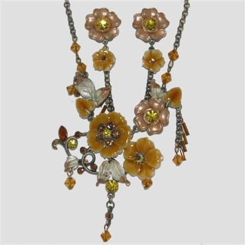 Brown Flower Enamel Necklace & Matching Earrings Set - Sparkly Crystal Costume Jewellery