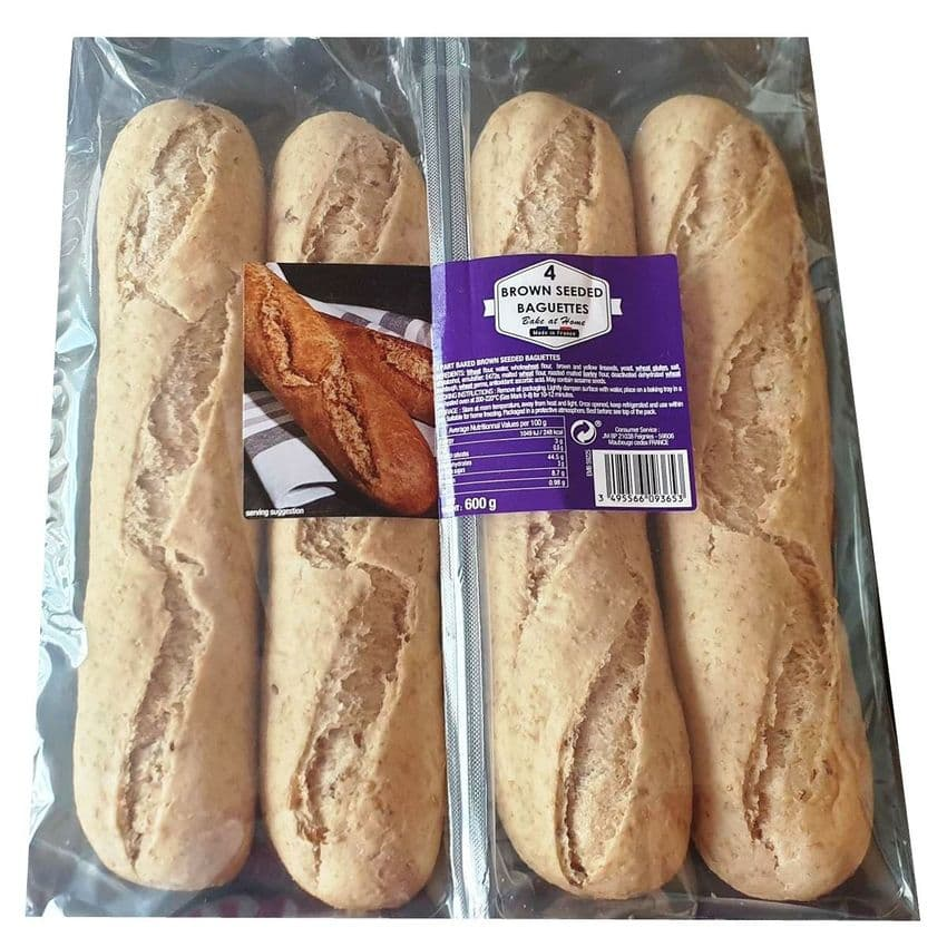 Brown Seeded Baguettes Bake At Home Bread 600g (Pack of 4)
