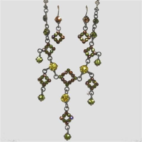 Brown Square Shaped Necklace & Matching Earrings Set - Sparkly Crystal Costume Jewellery