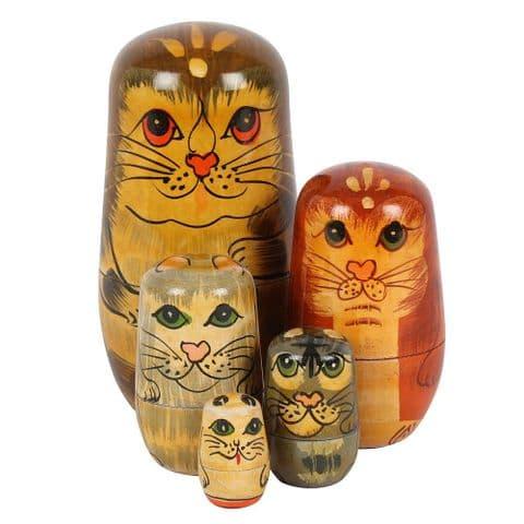 Cats - 5 Piece Wooden Russian Doll Nesting Set