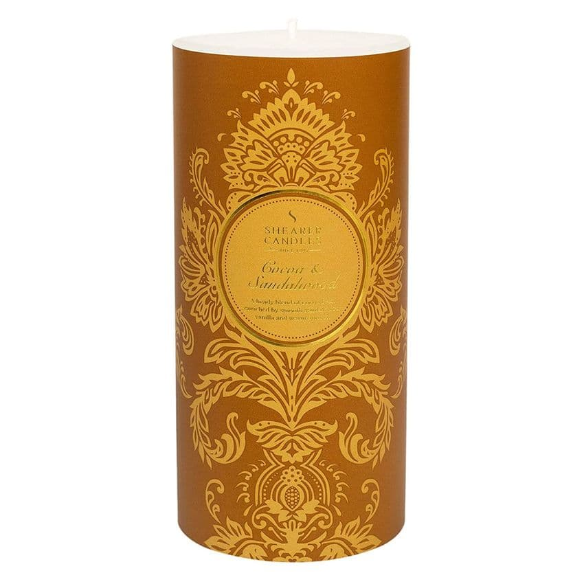 Cocoa & Sandalwood Scented Pillar Candle - Shearer Candles