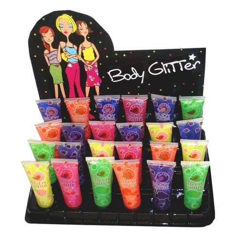 Coloured Glitter Body Gel Assorted Fruity Colours 30ml