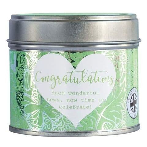 Congratulations Scented Candle Tin Said With Sentiment Arora Design