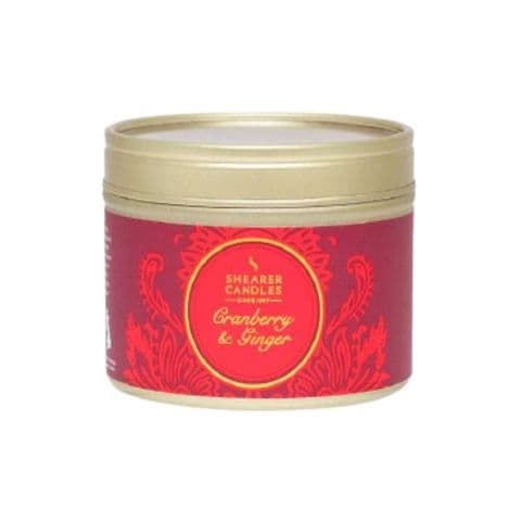 Cranberry & Ginger Scented Filled Tin - Shearer Candles