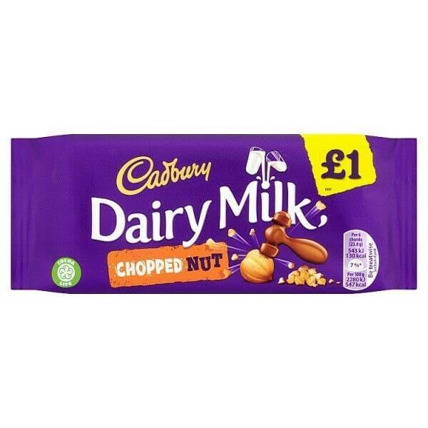 Dairy Milk Chopped Nut Chocolate Bar Cadbury 95g
