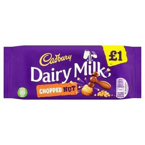 Dairy Milk Chopped Nut Chocolate Bar Cadbury 95g