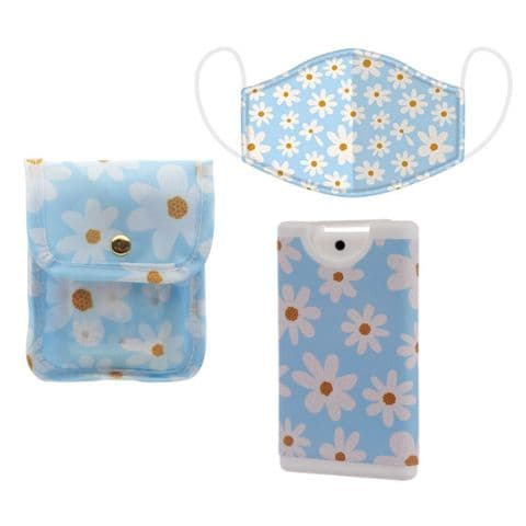 Daisy Floral Face Covering & Hand Sanitizer Pouch Gift Set