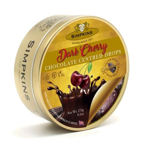 Dark Cherry Chocolate Centres - Simpkins Traditional Travel Sweets Tin 175g