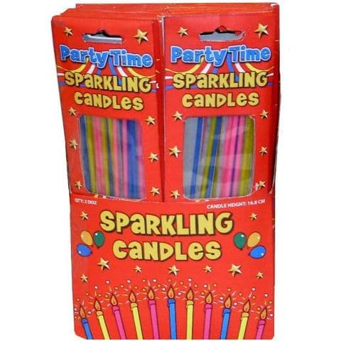 Extra Long Sparkling Candles For Birthday Cakes Wholesale Bulk Buy Henbrandt (24 x Packs of 18)