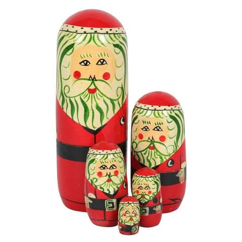 Father Christmas - 5 Piece Wooden Russian Doll Nesting Set