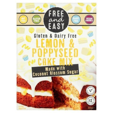Free & Easy Lemon & Poppyseed Cake Mix Gluten & Dairy Free 350g