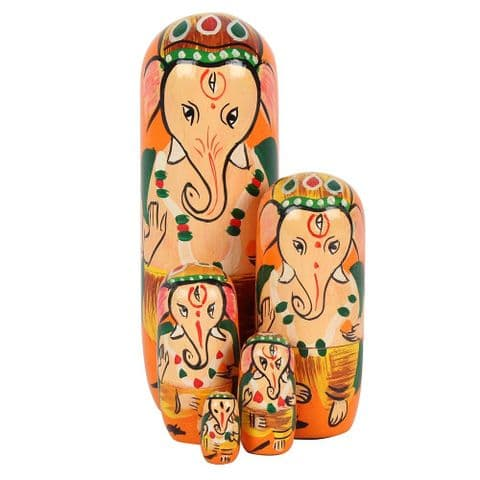 Ganesh Elephant God - 5 Piece Russian Doll Nesting Set