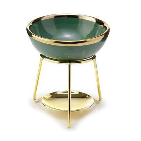 Green Ceramic Gold Metal Oil Burner / Wax Melt Warmer Puckator