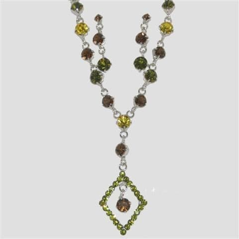 Green Diamond Shaped Necklace & Matching Earrings Set - Sparkly Crystal Costume Jewellery