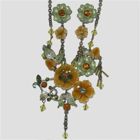 Green Flower Enamel Necklace & Matching Earrings Set - Sparkly Crystal Costume Jewellery