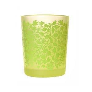 Green Small Patterned Glass Votive / Tealight Holder - Shearer Candles