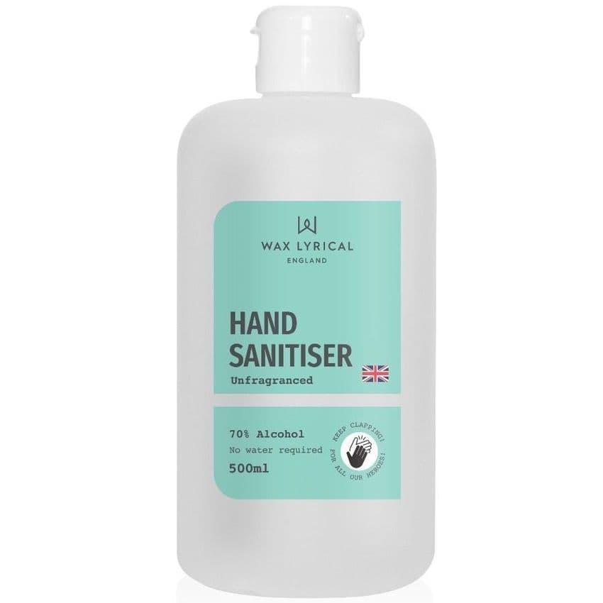 Hand Sanitiser Rub Unfragranced 70% Alcohol Wax Lyrical Refill Bottle 500ml