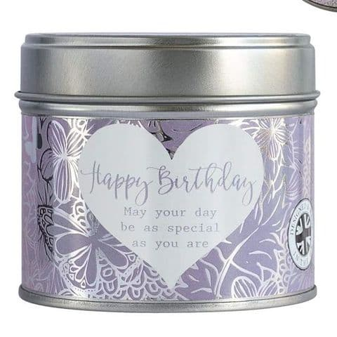 Happy Birthday Linen Scented Candle Tin Said With Sentiment Arora Design