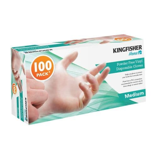 Medium Size Powder Free Vinyl Disposable Gloves Kingfisher Home (Pack of 100)