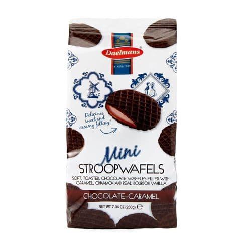Mini Chocolate Caramel Wafers Dutch Waffles Biscuits Stroopwafels Daelmans 200g