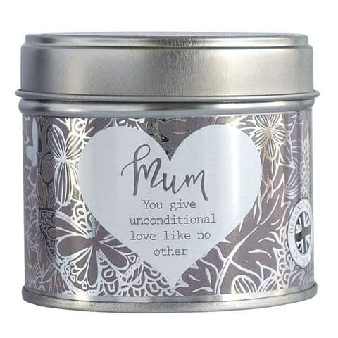 Mum Linen Scented Candle Tin Said With Sentiment Arora Design
