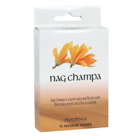 Nag Champa Scented Incense Cones Elements Indian - Box Of 15