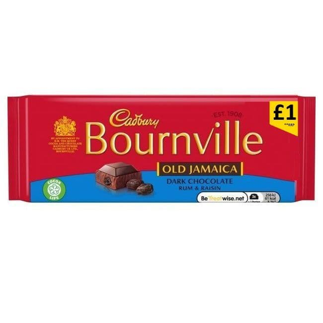 Old Jamaica Rum & Raisin Bournville Dark Chocolate Bar Cadbury 100g