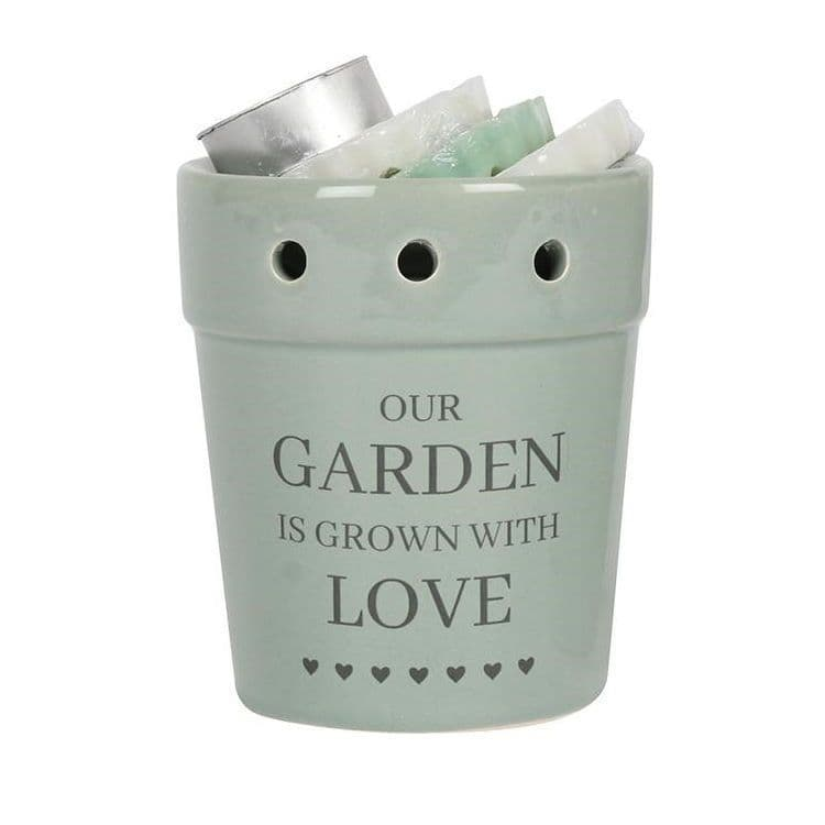 Our Garden Is Grown With Love Green Plant Pot Wax Melts Burner Gift Set Sifcon