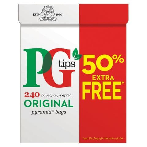 PG Tips Pyramid 240 Tea Bags 696g  (Pack of 160 + 50% Free)#