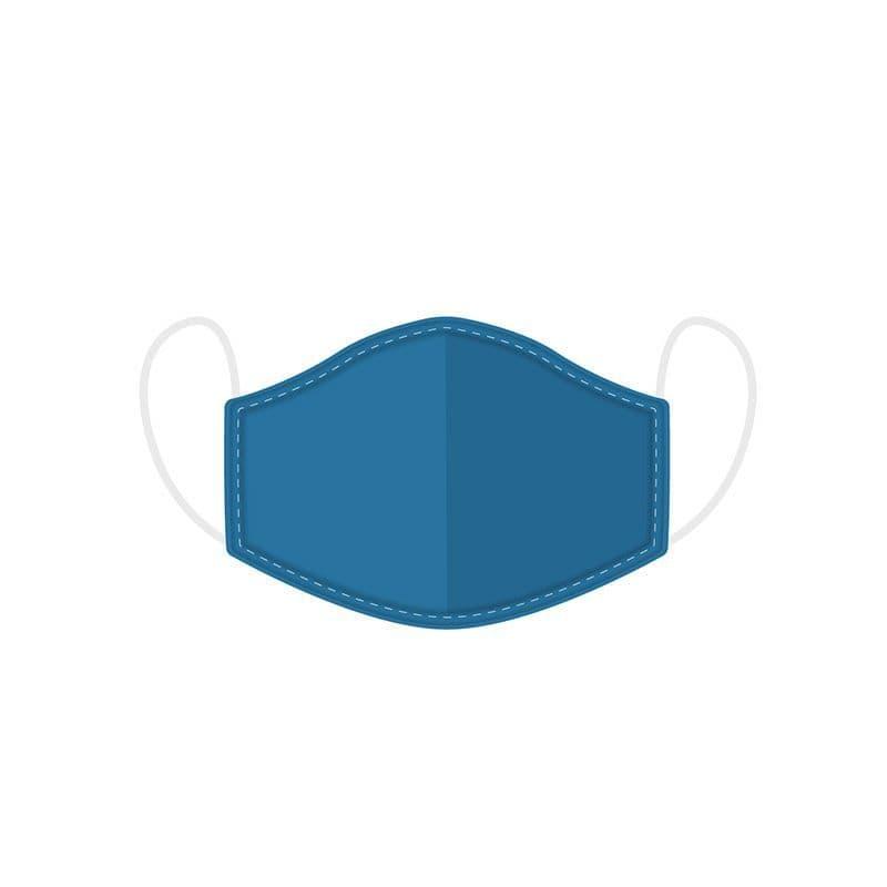 Plain Blue Reusable Adult Face Covering Washable 2 Layer Soft Mask