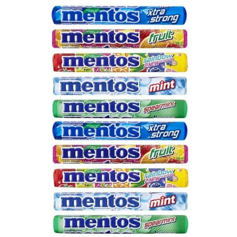 Randomly Assorted Mentos Rolls Chewy Dragees Sweets Candy Sweets 38g  (Pack of 10)