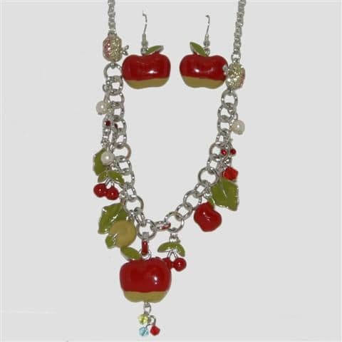 Red Apple Fruit Necklace & Matching Earrings Set - Enamel Sparkly Crystal Costume Jewellery