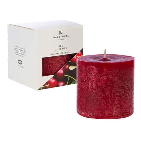 Red Cherries Scented Pillar Candle Made In England Wax Lyrical