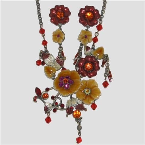 Red Flower Enamel Necklace & Matching Earrings Set - Sparkly Crystal Costume Jewellery