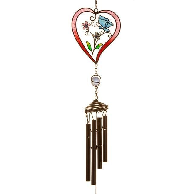 Red Heart & Butterfly Windchime - 45cm Hanging  Garden Sun Catcher Wind Chimes